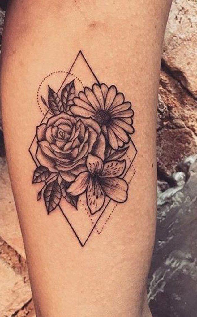 Beautiful Sunflower Geometric Triangle Forearm Tattoo Ideas for Women –  Ideas d…