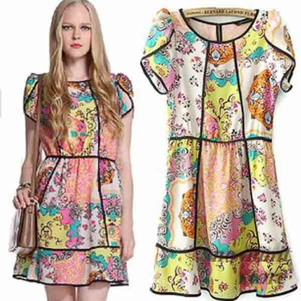 Farbige Druck Chiffon-nettes Kleid