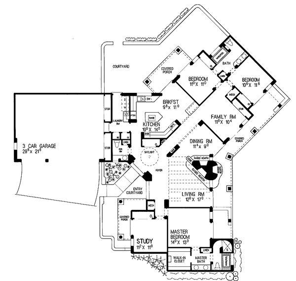 99 best casas estilo santa fe images on pinterest for Southwestern floor plans