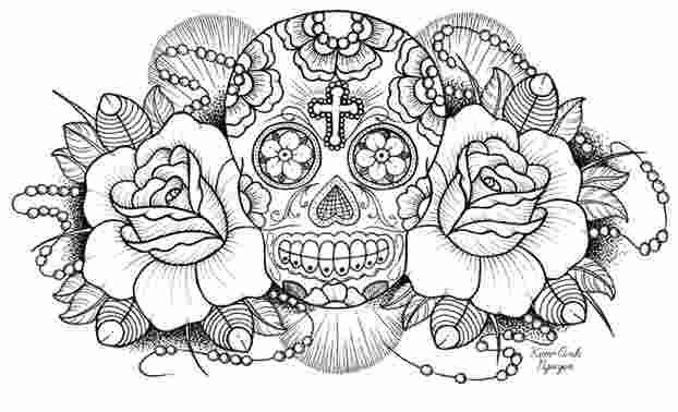 Sugar Skulls And Roses Coloring Pages In 2020 Skull Coloring Pages Skulls Drawing Skull Drawing