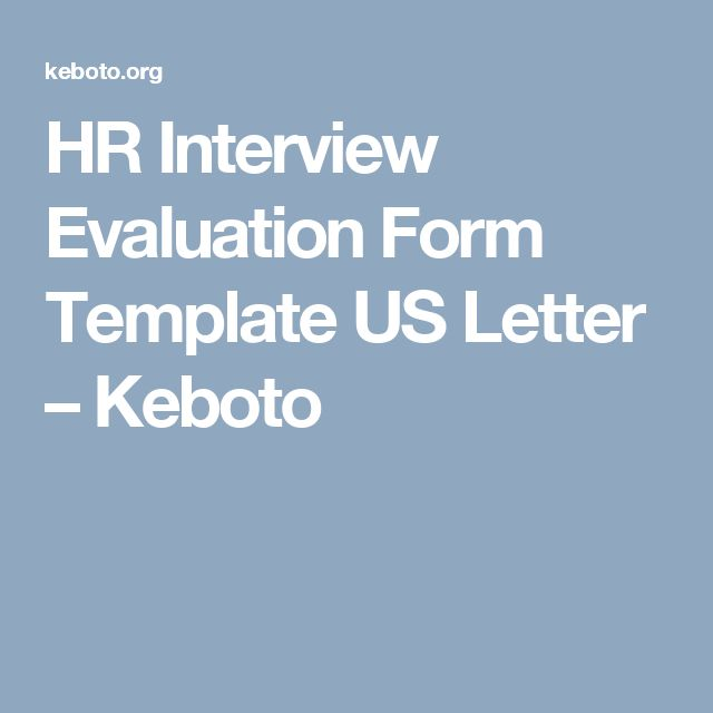 HR Interview Evaluation Form Template US Letter – Keboto