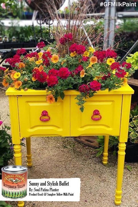 Beautifully bright upcycled porch planter painted in GF Sunglow Yellow Milk Paint by Soul Patina, https://www.facebook.com/SoulPatina?fref=ts. You can find your favorite GF products at Woodcraft, Rockler Woodworking stores or Wood Essence in Canada. You can also use your zip code to find a retailer near you at http://generalfinishes.com/where-buy#.UvASj1M3mIY.