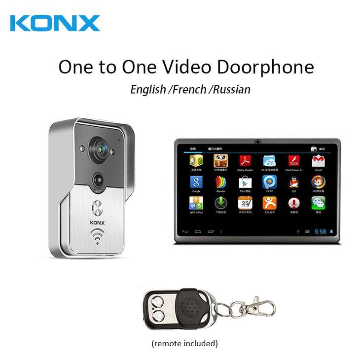 WiFi Wireless one to one Video DoorPhone intercom Doorbell IR Night Vision 7Inch indoor video doorphone Monitor touch screen