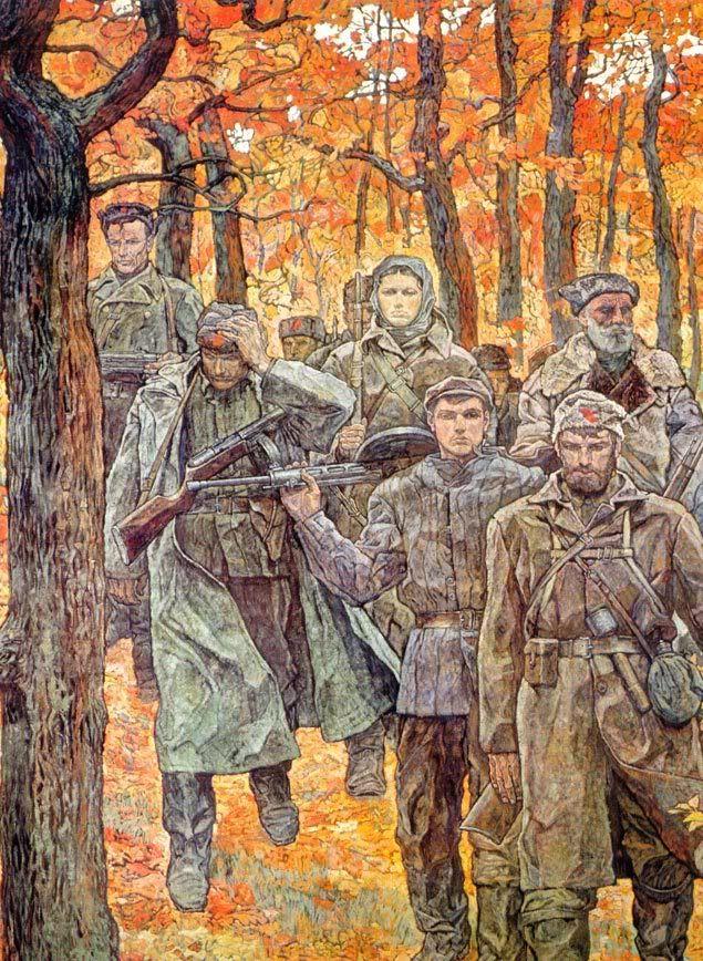 Pinturas y Dibujos de la Guerra Russian Partisans