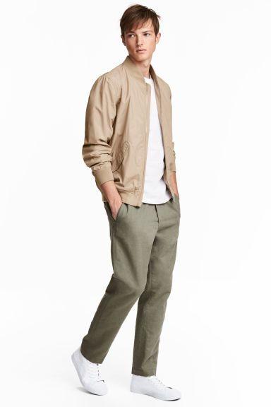 Pantalon en lin mélangé - Vert kaki - HOMME   H&M FR 1