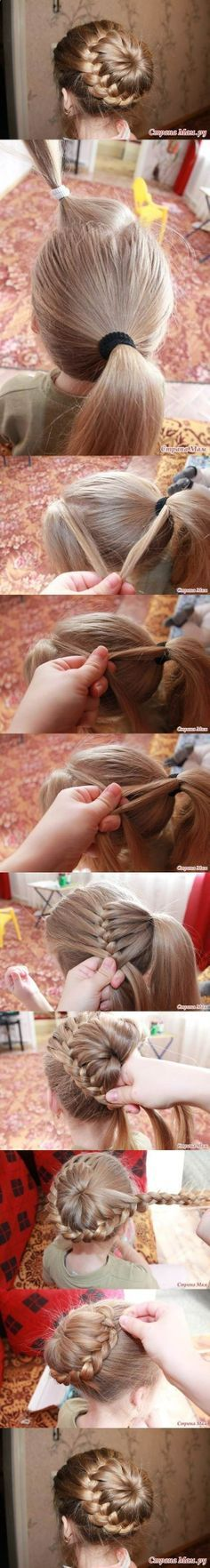 French braid bun. I want to try this on someone with long hair!!!