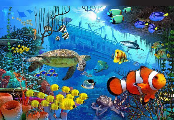 Wallpaper Dinding Pemandangan 3d Under The Sea Wall Murals Under The Sea Murals Kingpin