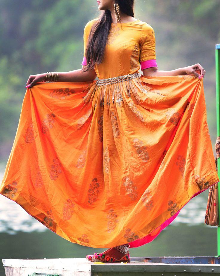 The Secret Label Orange SilK Printed Anarkali Kurti