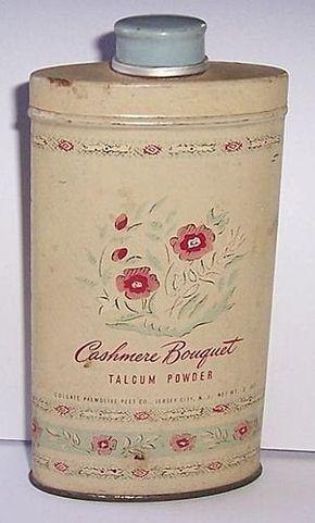 VINTAGE CASHMERE BOUQUET TALCUM POWDER TIN COLGATE PALMOLIVE PEET W/ CONTENTS