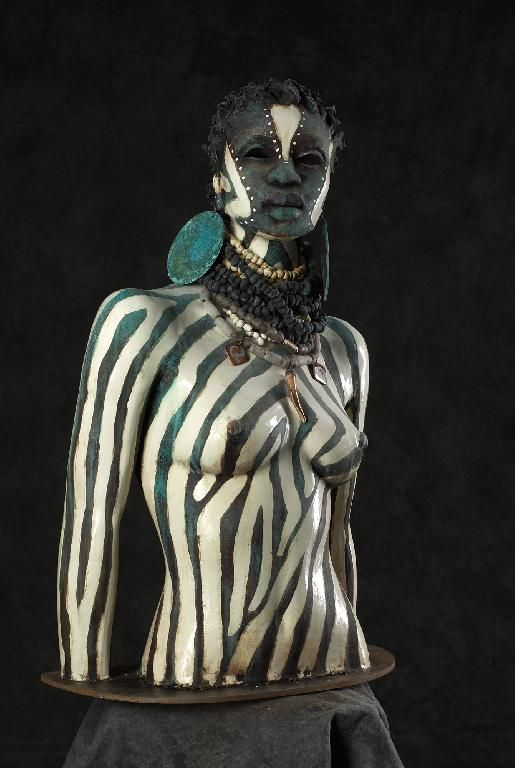 Stoneware sculpture by Woodrow Nash. theragegallery.com