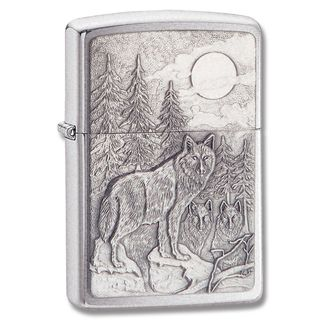 @Overstock.com - Zippo Brushed Chrome Timberwolf Emblem Lighter - This Zippo lighter features a Timberwolf design in a brushed chrome finish. Great for collecting or everyday use, the lighter is refillable with lighter fluid for years of service.