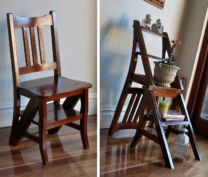 Timber Mahogany Wooden Folding Library Step Ladder Chair