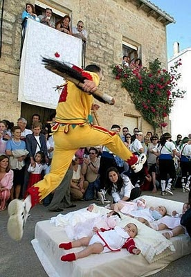 El Colacho Festival in the northern Spanish town of Castrillo de Murcia -- baby-jumping tradition.