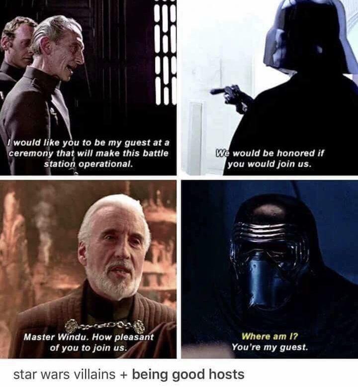 Star Wars Villains Are Very Polite Star Wars Memes Star Wars Humor Star Wars Villains