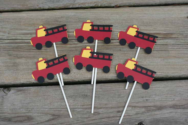 24 Fire Truck Cupcake Toppers Fire Truck Birthday by AngiesDesignz