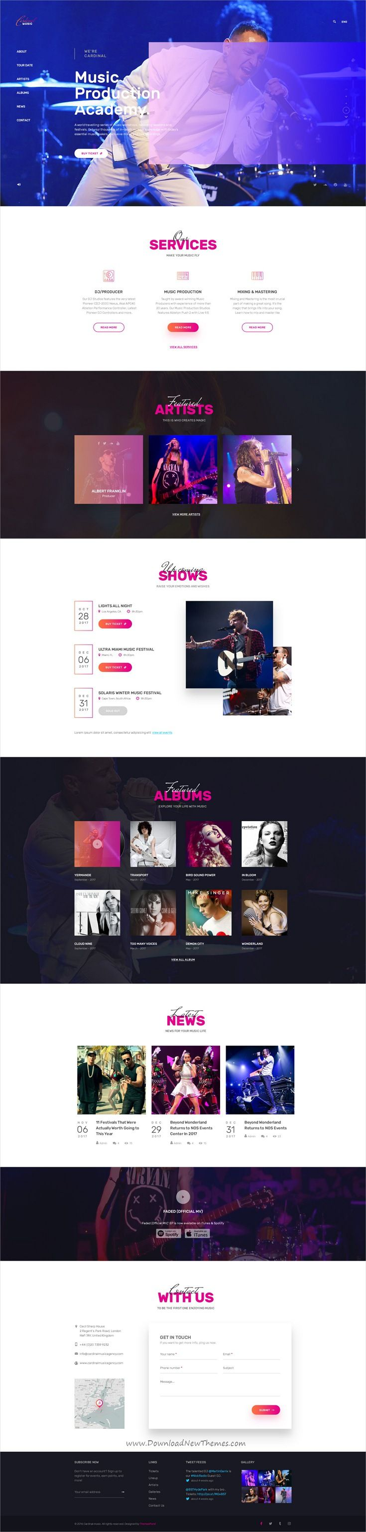 Cardinal is clean and modern design PSD template for #singer, artists, music #bands and #musicians website with 37 layered PSD pages download now..