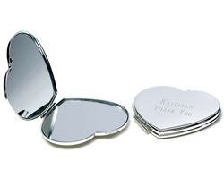 Engraveable Silver Plated Classic Heart Compact Mirror - Personalized Gift for Bridesmaids