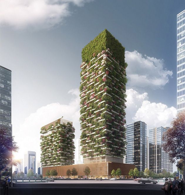 First vertical forest in Asia to have over 3,000 plants and turns CO2 into 132 pounds of oxygen per day http://themindcircle.com/vertical-forest-stefano-boeri-china/