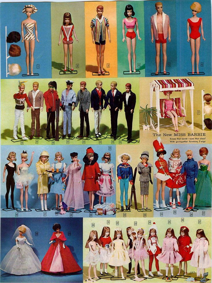 Fashion Queen Barbie, Skipper, Allan, Midge, Painted Hair Ken, Bubble Cut Barbie, Ken & Allan Fashions, Miss Barbie & Lawn Swing, Barbie & Midge Fashions and Skipper Fashions from the John Plain Company Catalog, 1965