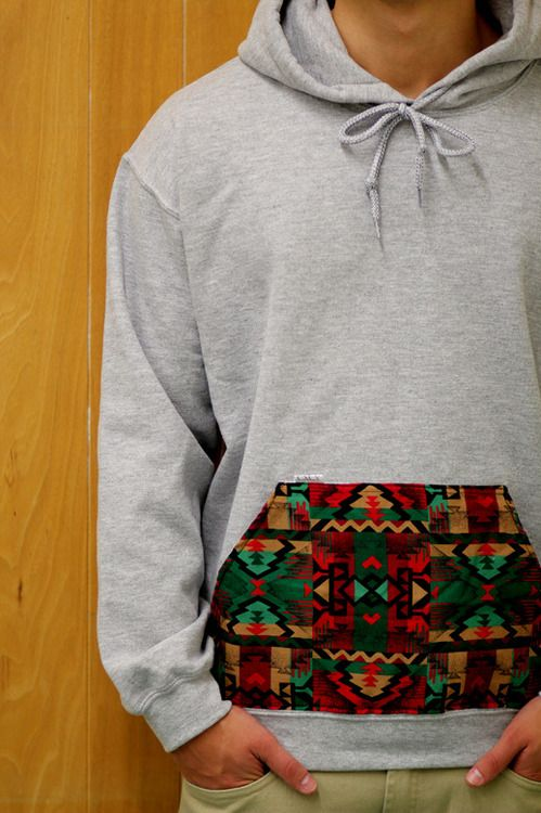 Aztec printed pocket on a plain grey hoodie what a twist up. I could make this I bet!