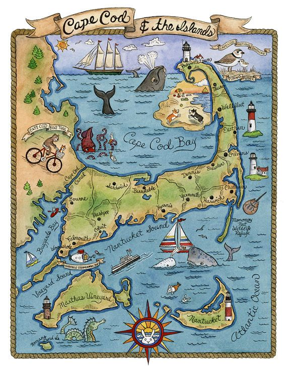 Map of Cape Cod Art Print 11 x14 by SepiaLepus on Etsy, $28.00