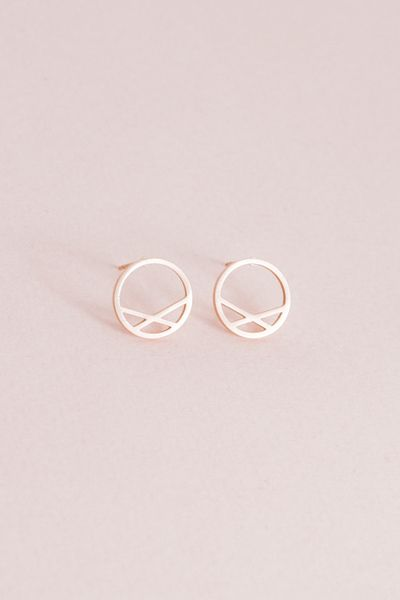 Criss Cross Circle Earrings | Rose Gold (14K) $14 // Rose gold stud earrings with a minimalist circle design.