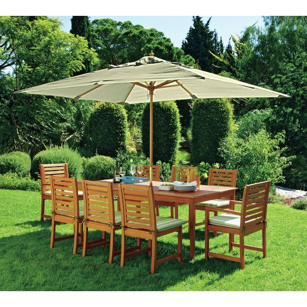 buy collection madison 8 seater wooden patio set green at argoscouk - Garden Furniture Yate