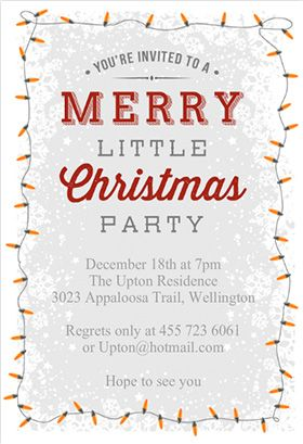 """A merry little party"" printable invitation. Customize, add text and photos. print for free!"