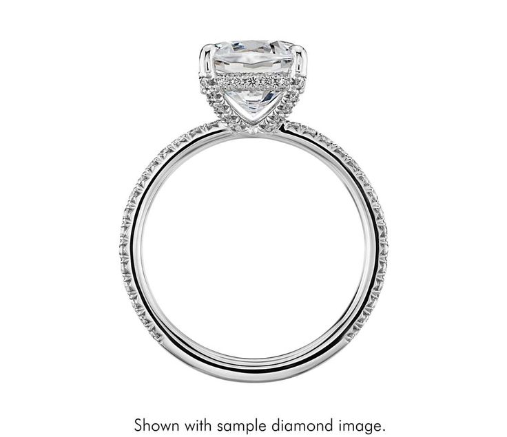 Blue Nile Studio Cushion Cut Petite French Pave Crown Diamond Engagement Ring in Platinum