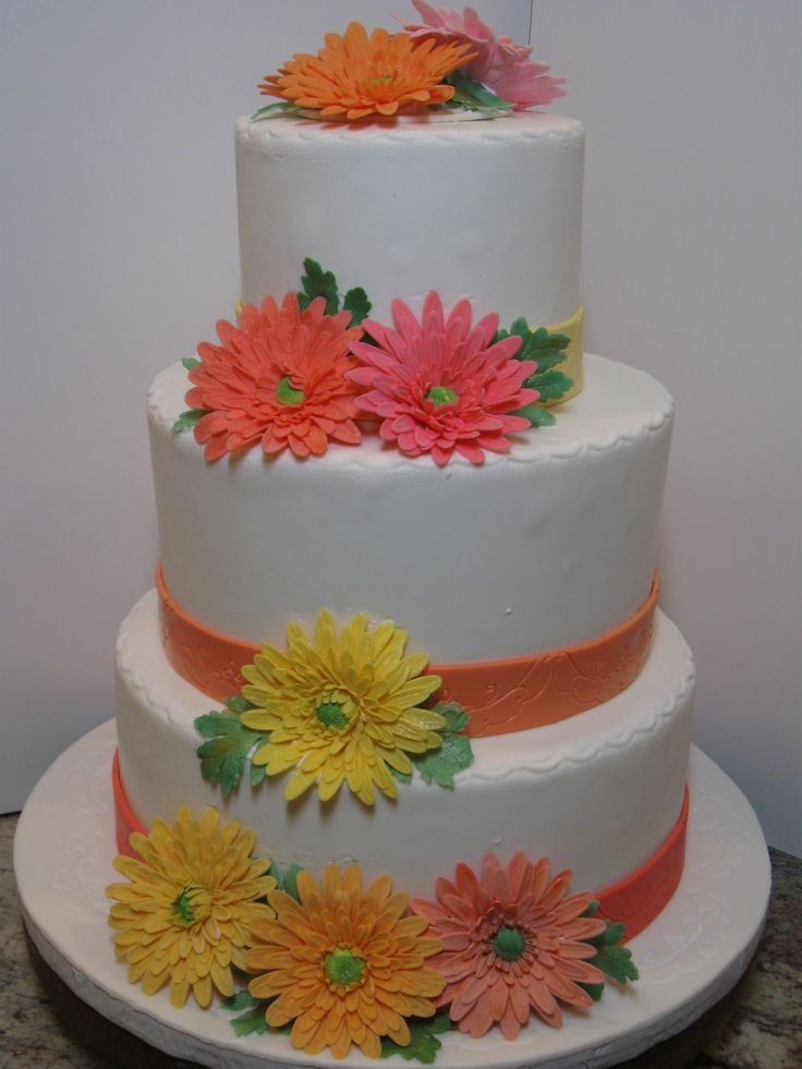 wedding cake decorated with gerbera daisies wedding cakes by jazzy345 44 weddings ideas to discover 22362