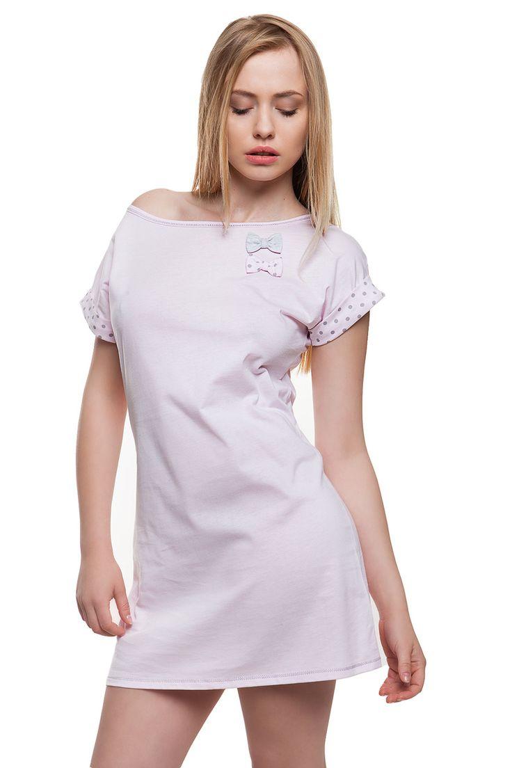 Dámská světle růžová noční košile s mašličkou. Sweet pink #nightgown #chemise