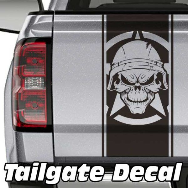 Army Skull Truck Tailgate Decal