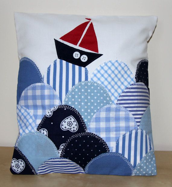 Handmade Nautical Cushion with Boat and Waves by MadebyMeCraftsUK