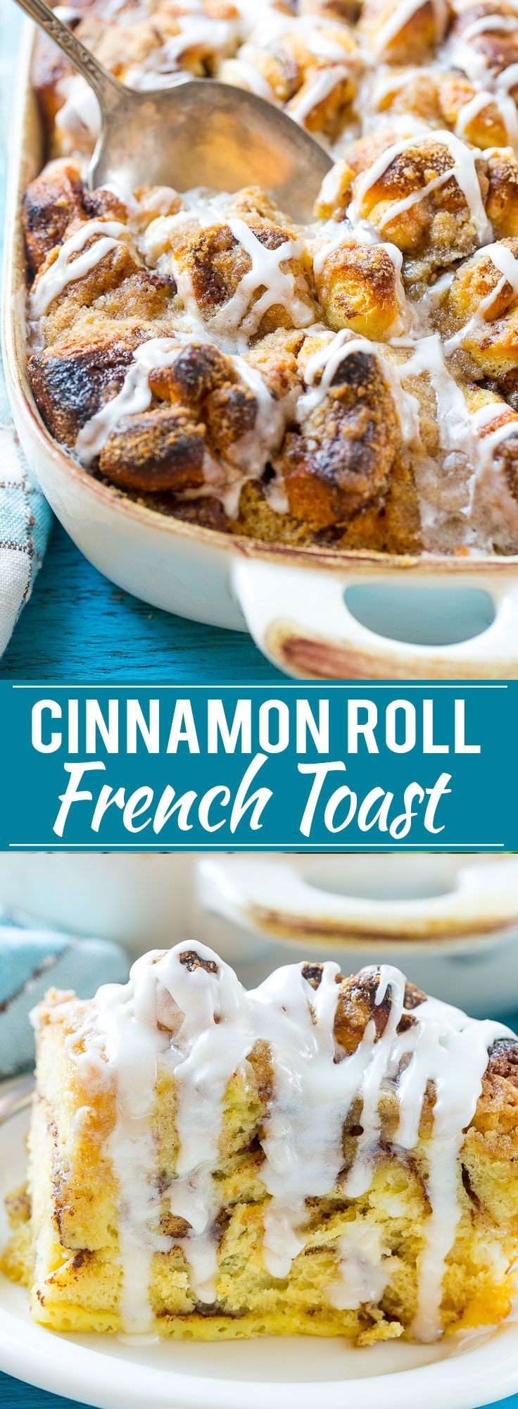 This cinnamon roll french toast casserole recipe is so simple to make and is the star of any breakfast or brunch!
