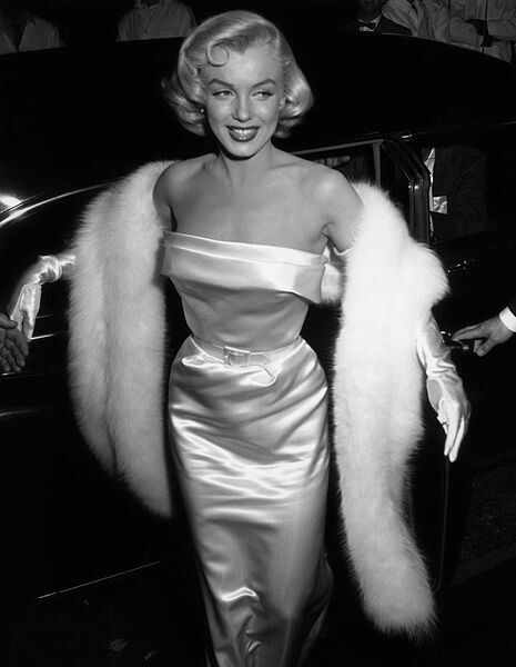Monroe arriving at a party celebrating Louella Parsons at Ciro's nightclub in May 1953.