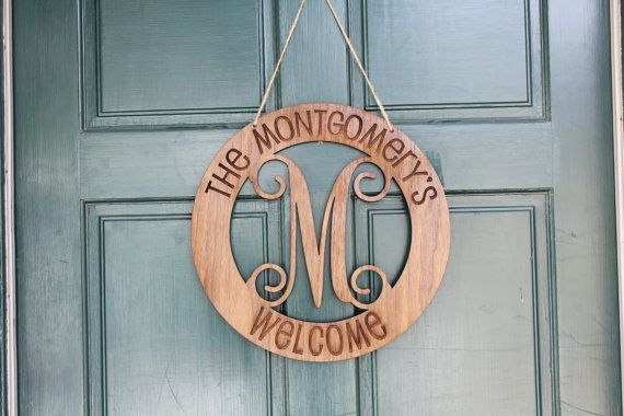 Welcome to our Home, Personalized Welcome Sign, Walnut PlyWood Sign, Custom Engraved Welcome, Custom Monogram Sign for Front Door --6917