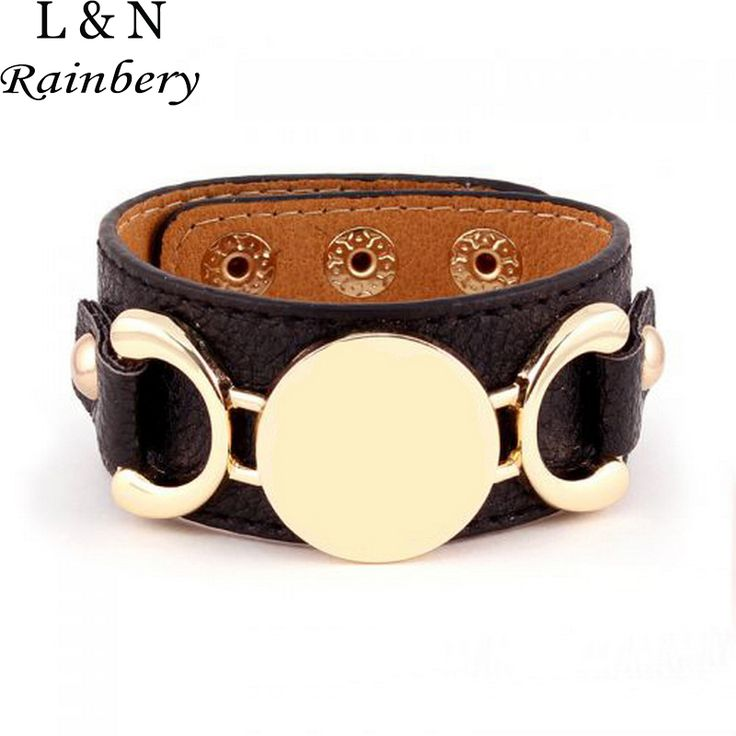 Rainbery Hot Selling Monogram Leather Cuff Bracelet Pulseras 3 Row Gold/Silver Plated Multicolor Leather Bracelet For Women Men