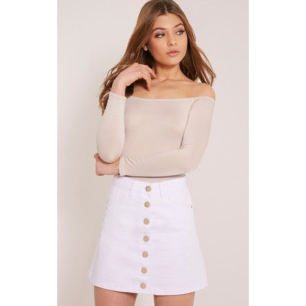 White Denim Button Skirt