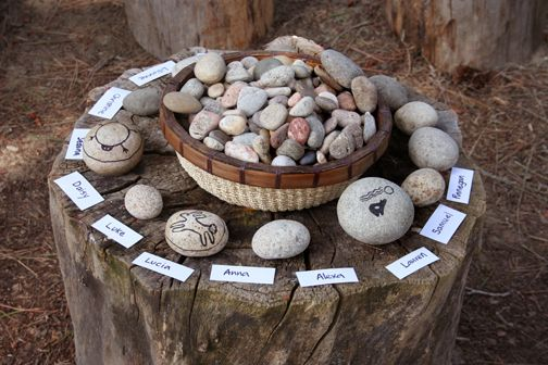 pebble-art-kids : making Empowerment Pebbles and Inukshuk – native activities from a wonderful book called Rediscovery by  Thom Henley