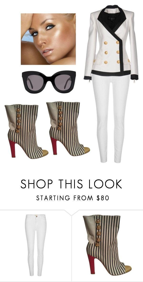 """french/miami sryle"" by mbaileydesigns on Polyvore featuring River Island, Christian Louboutin, Balmain and Beach Bunny"