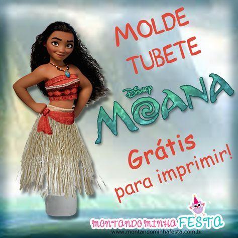 Molde tubete saia princesa Moana para imprimir, ideias para festa Moana, lembrancinha Moana