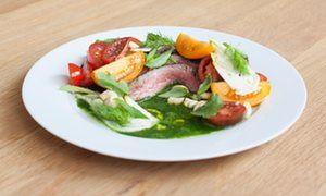 Seared beef salad with coriander and sorrel puree.