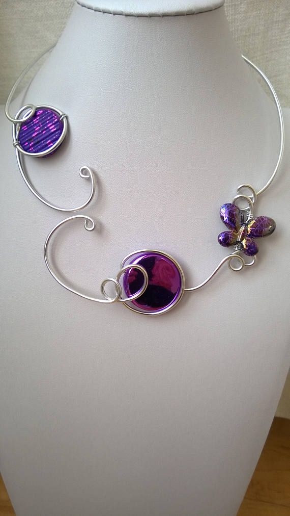 Wire necklace Open necklace purple jewelry Contemporary