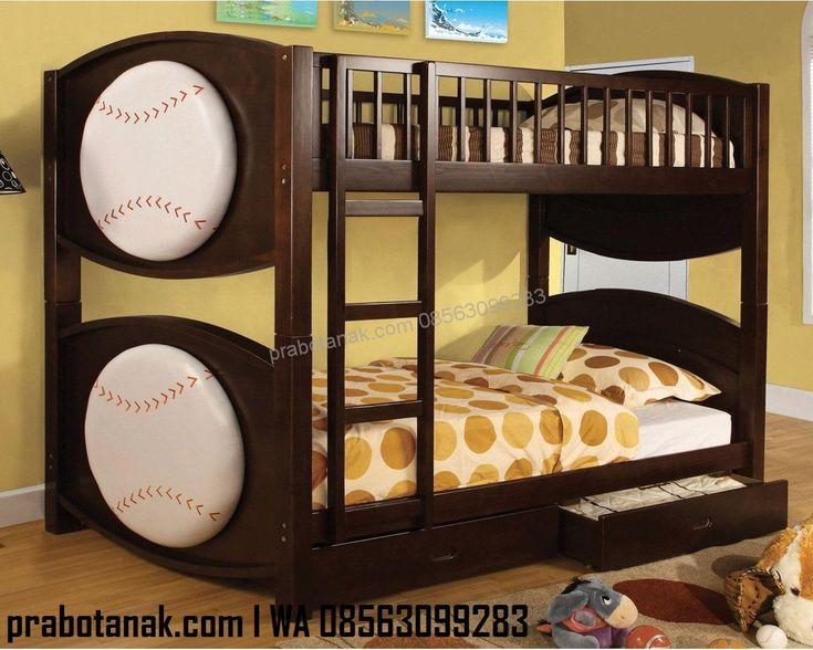 Tempat Tidur Tingkat Edisi Baseball merupakan tempat tidur tingkat dengan tambahan karakter bola baseball bulat berwarna putih cocok untuk kamar anak bunda.