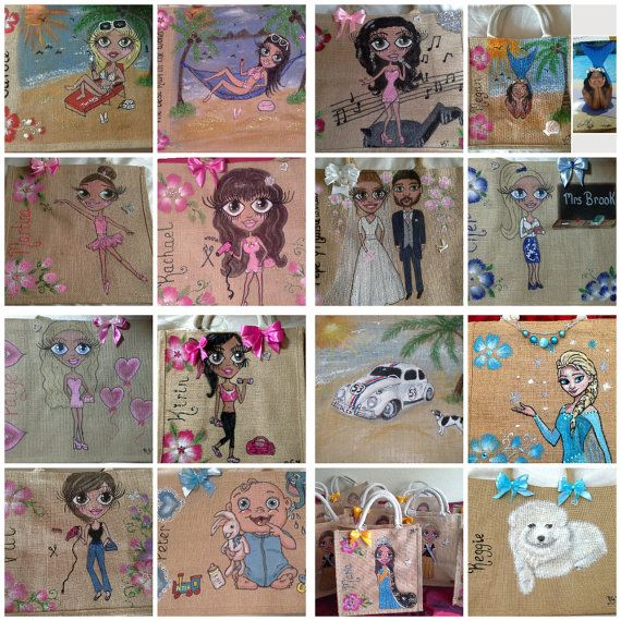 Personalised jute bags hand painted jute bags. large by Aligri