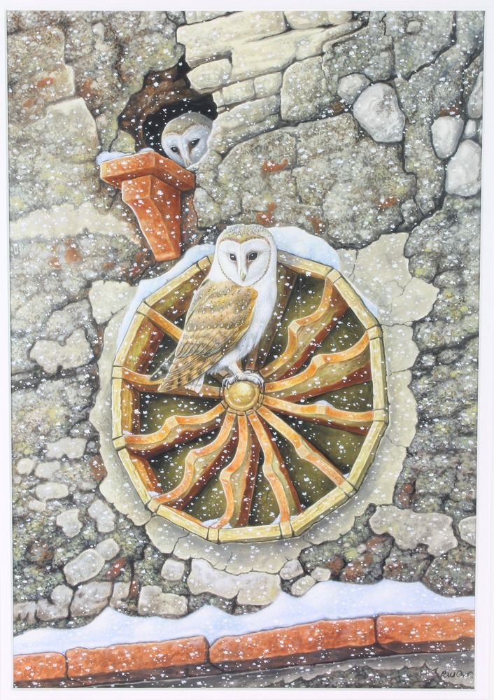 """Lot 410, Richard W Orr, watercolour, signed, study of barn owls in a nest and seated on a wheel within a flint wall 19 3/4"""" x 13 3/4"""", est £300-500"""