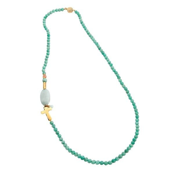 Collar hecho a mano con piedras naturales talladas, abalorios y broche bañados en oro. Largo: 38cm (cerrado)