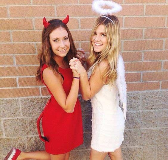 Devil Angel BFF Halloween Costume Idea