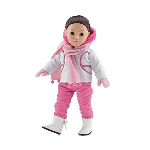 18 Inch Doll Clothes | Outerwear Winter Snow Outfit Including Pink Hooded Coat and Bib-Style Pants Long Sleeved T-Shirt Pink Scarf and Matching Mittens and Snow Boots | Fits American Girl Dolls