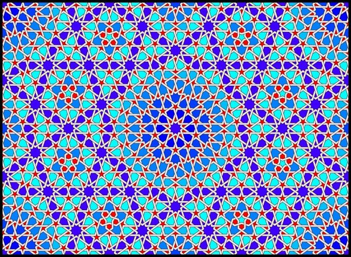 Self-similar Islamic geometric pattern with 5-fold symmetry in the Maghrabi type C style.